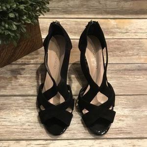 Franco Sarto 10 M Sedona Black Wedge Suede Used